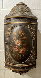 Antique Dutch Painted Hanging Wall Cabinet W/queen Wilhelmina Cameo C.1900