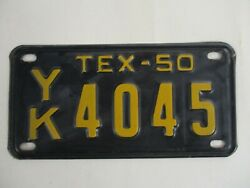 Super 1950 Texas Motorcycle  License Plate Tag