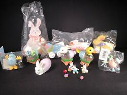Lot Of 16 Vintage Table Top Mantle Small Easter Decorations Wood Snow Globes