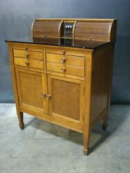 Rare Antique Walnut Medical Cabinet / Bar With Black Glass Top And Tambour Doors