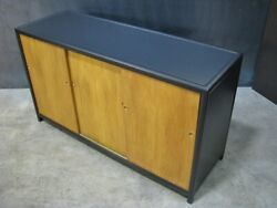 Baker Furniture Mid-century Sideboad/buffet Black Lacquer And Blonde Sliding Doors