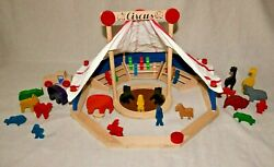 Vintage Tc Timber Maple Wooden Building Toys Big Performing Circus - Rare