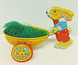 """Old J Chein Tin Litho Easter Bunny Egg Cart 7 7/8"""" Moving Wheels Old Grass Shp"""