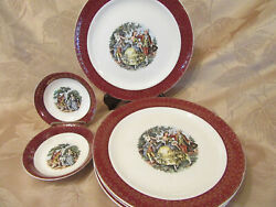 Cronin China Coi11 6 Dinner Plates, 2 Berry Bowls, Colonial Couple Red/gold Trim