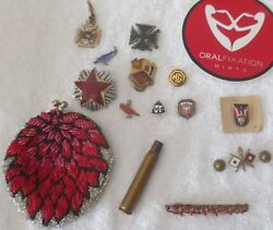 Gold Filled Silver Lot 20 Antique Pins Brooches Beaded Coin Purse Us Stars Flags