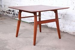Jens Risom Mid-century Modern Sculpted Walnut Occasional Side Table, 1950s