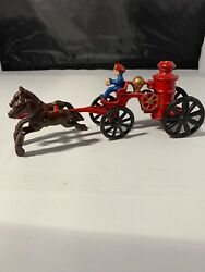 Vintage Cast Iron Fire Truck Pulled By Horses