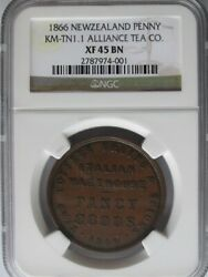 New Zealand 1866 Alliance Tea Co. Penny Token Ngc Xf45bn Km-tn1.1 A7