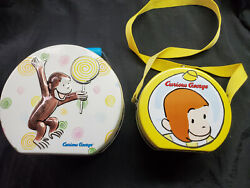 Curious George Mini Tin Lunch Boxes Rare Vintage Circular Lot Of 2 Nice