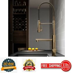 Pre-rinse Kitchen Faucet With Pull-down Spring Spout And Pot Filler Brushed Gold