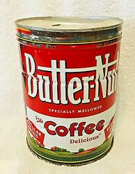 Vintage Butternut Coffee Tin 3 Lbs Can 6 5/8 Inches Colorful Advertisment