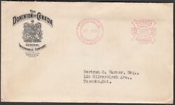 Historical 2 Cent Meter Mail Canadian Cover With Document Dated Oct. 31934