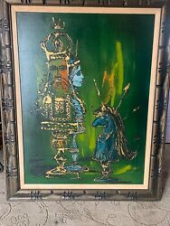 Vintage Mid Century Modern Abstract Painting Najdorf King Queen 40x30