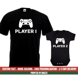 Player 1 2 Ps4 T Shirt Gift Set Birthday Playstation Dad Fathers Day Baby Vest