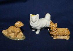 Lot of 3 Vintage Miniature Dogs Porcelain Dogs White Dog Made in Japan
