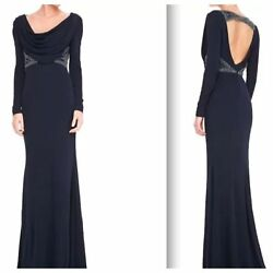 Badgley Mischka Collection Navy Cowlneck Beaded Waist Open Back Gown Size 6 $995
