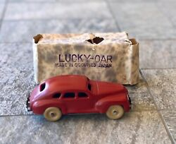 Vintage Lucky Car Wind-up Tin Automobile Toy Made In Occupied Japan