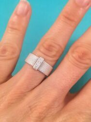 And Co Sterling Silver Diamond Mesh Somerset Band Ring Size 6