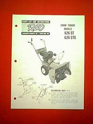 Reo Wheel Horse Model 626 St And 626 Ste Snowthrower Owner / Parts Manual
