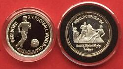 Egypt Set 2 X 5 Pounds Football World Cups 1990 And 1994 M5-k Rare