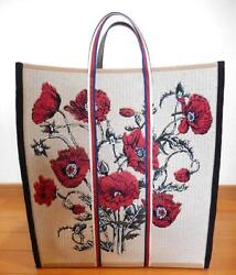Tote Bag Shopping Purse Floral Flower Canvas Woman Auth New Unused Rare