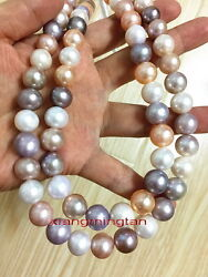 Long Aaaaa 3611-12mm South Sea White Pink Purple Multicolor Pearl Necklace 14k