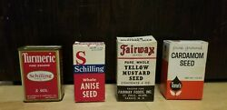 Vintage Tin Spice Container And Paper Containers Fairway, Tones, Schiling Lot