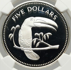 1975 Belize Authentic Large Silver 5 Coin W Toucan Bird Ngc Pf 69 I83555