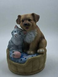 Dog And Cat In A Basket The San Francisco Music Box Company Gray Brown Pink Mous