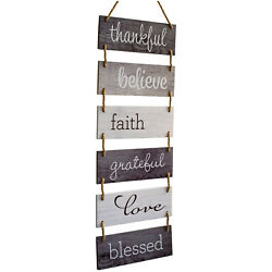 Large Hanging Wall Sign: Rustic Wooden Decor Blessed Theme 11.75quot; x 32quot;