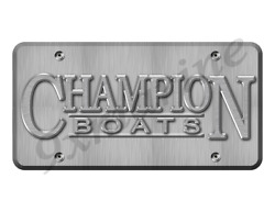 Champion Boat Sticker Brushed Metal Look - 10x5