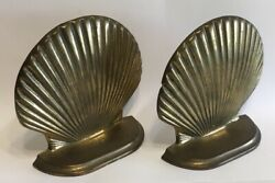 Andrea By Sadek Brass Clam Scallop Shell Bookends Nautical Home Decor