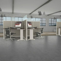 6x6 Cubicles- 63″ H- 2 Man/person Back-to-back Fabric And Glass Workstations- E