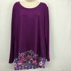 Kate amp; Mallory Women XL Top Pullover Purple Zipper Back Long Sleeve Layered Look $10.49
