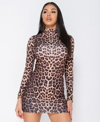 Women Leopard Print Long Sleeve Bodycon High Neck Evening Party Club Mini Dress $22.94