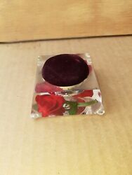 Vintage Red Rose Lucite Pin Cushion Made By Bircraft