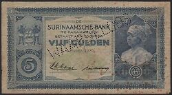 Suriname 5 Gulden 1935 Perforated Waardeloosand039 Vg Pick 1a