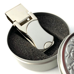 Artistic Curves Locking Stainless Steel Silver Money Clip with Tin Gift Box $5.00