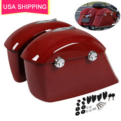 Red Saddlebags Electronic Latch Lid For Indian Chieftain Roadmaster Springfield