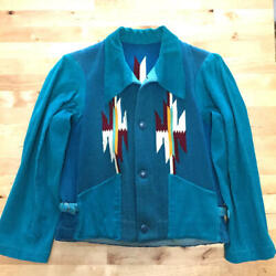 Vintage 1930and039s Chimayo Jacket Blue Green Wool Rug Outerwear Rare