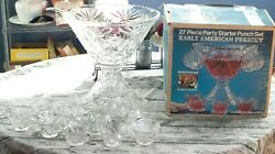 Vintage Anchor Hocking Early American Prescut Punch Bowl Set - 27 Pc. Complete