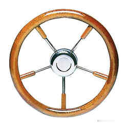 Ss Steering Wheel W/ Mahogany Outer Ring 350 Mm - 1 Pz Osculati 45.168.35 - 451