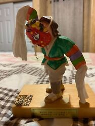 """Chinese Wooden 6"""" Colorful Figurine With Mask"""