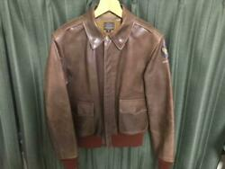 BUZZ RICKSON'S A-2 Flight Leather Jacket Brown Size 38 Outerwear Rare