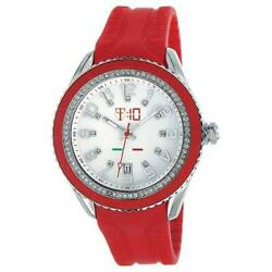 New T10 Maracuja Watch In Silicon , 3 Spheres And Strass T10-c009r, Red
