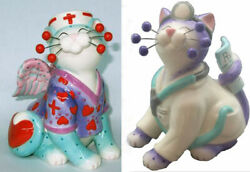 Amy Lacombe Whimsiclay Doctor Catwell And Nurse Melissa Cat Figurine 5 - Set Of 2