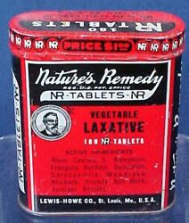 Vintage Nature's Remedy Laxative Tin With Original Paper Directions Lewis Howe