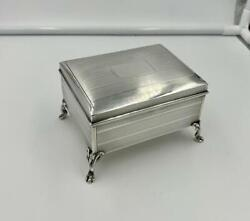 Rare And Co Antique Jewelry Cigarette Trinket Box Sterling Silver Footed