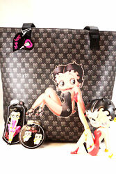 Betty Boop Collectors Tote Bag Figurine And Flashing Keychain And Earrings Brand New