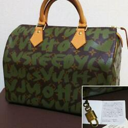 Used LOUIS VUITTON Leather Boston Bag Graffiti Initial Design Speedy 30 Rare O $2,199.00